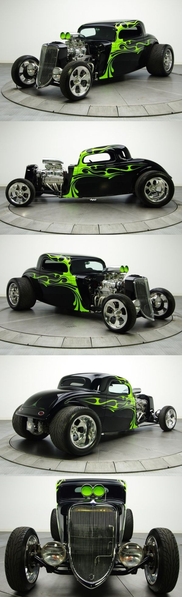 Tribal Green Flames ! amazing work (1934 Ford Coupe hot rod) The Green Flames make this rod, gives it a twisted attitude!