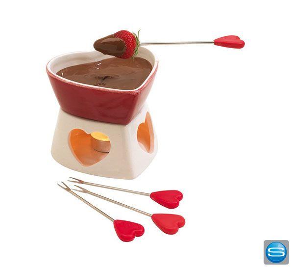 Ein optimaler Werbeartikel für Genießer - ein Schokoladen-Fondue Set inkl. Stövchen und vier Fondue-Gabeln mit Herzgriff. Lassen Sie dieses Fondue-Set mit Ihrem Logo oder Schriftzug bedrucken.