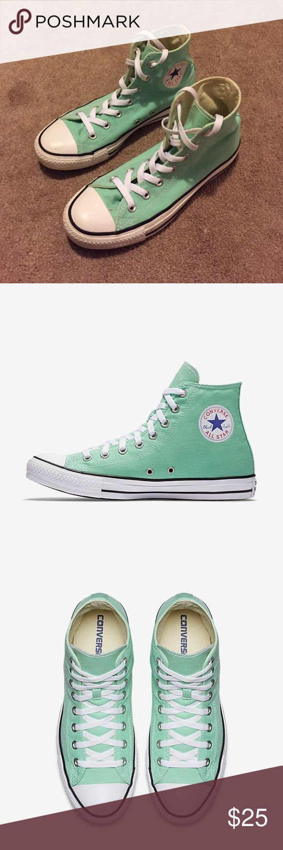 """Converse High Tops •Size 8 •Great condition, barely worn •Color: """"Beach Glass"""" - green/turquoise Converse Shoes Sneakers"""