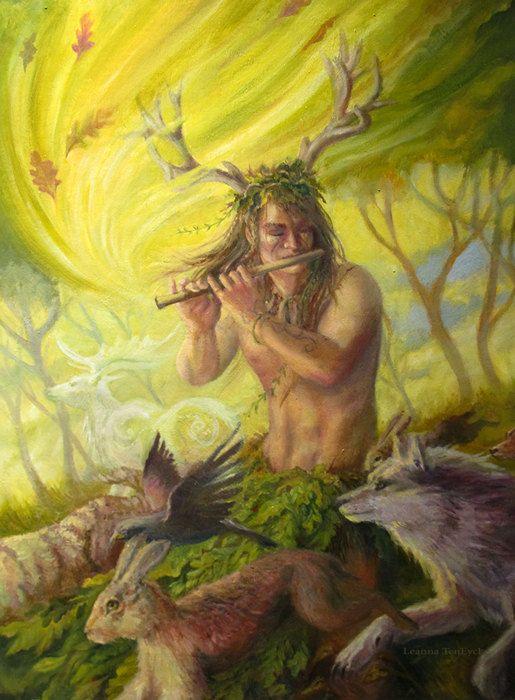 Cernunnos Nature God ACEO Original Art Celtic Pagan by bytheoakArt