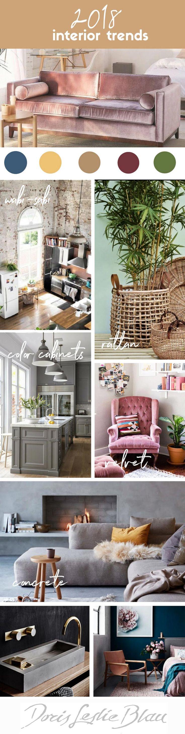 2018 interior decor trends, wabi-sabi interior, concrete interior decor, velvet sofa, rattan decor, millennial pink, emerald green decor, concrete sink