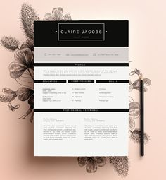 Stylish Resume Template editable in Ms Word by CVdesign. You can find us on Etsy! <3
