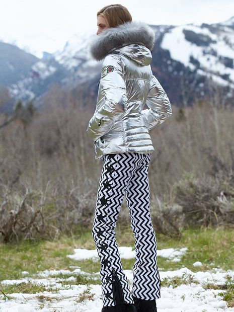 BOGNER Women Designer Ski Wear | Black/White 'Tiby twiggy' stretch ski pant