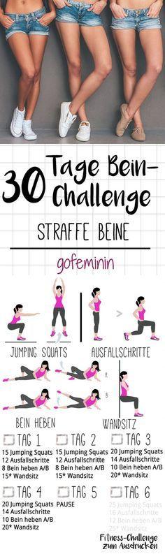 Die ganze Challenge gibt's zum Ausdrucken bei gofeminin.de. Startet jetzt mit dem Kurze-Hose-Training für den Sommer - mit der 30-Tage-Bein-Challenge!