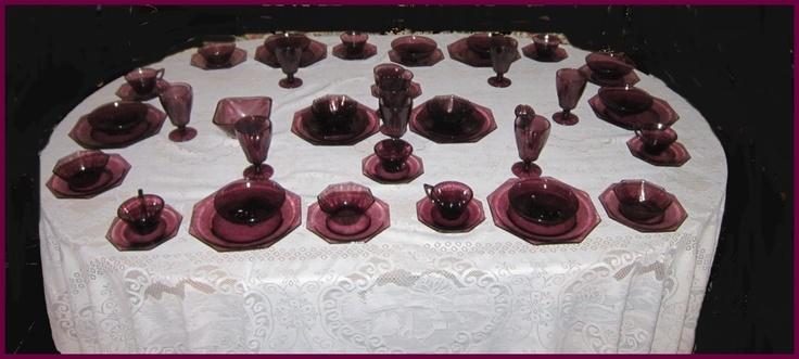 Awesome Hazel Atlas - Moroccan Amethyst 8 Place Settings- 59 Pieces Depression Glass - Purple. $350.00, via Etsy.
