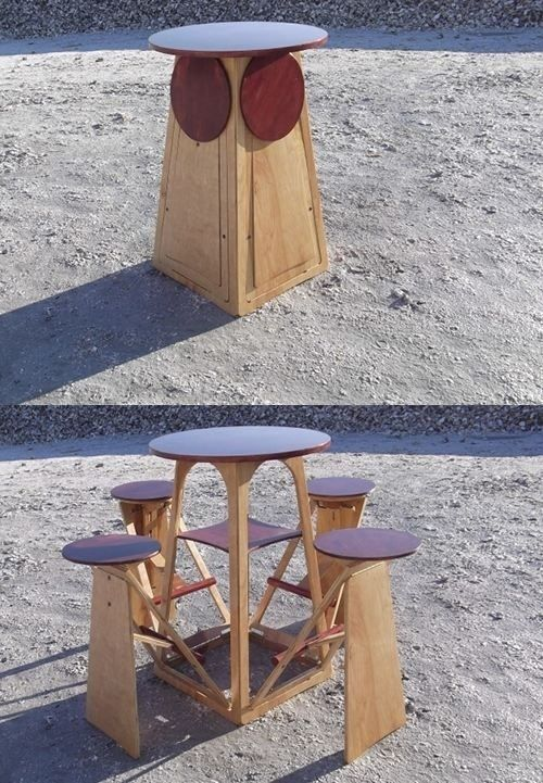 Table and seats combines a round bar height table with four fold-out stools - Home Pubs & Bars