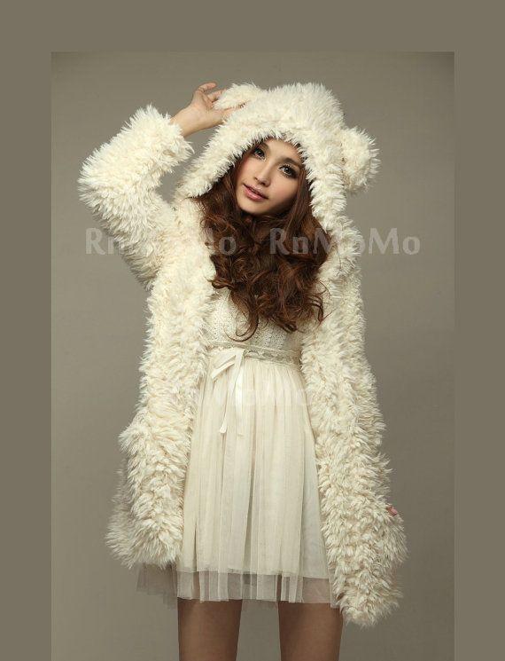 WINTER Teddy princess Bear Ears Soft Fur Fun beige Hoodie coat Top Jacket outwear For women