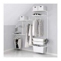The parts in the ALGOT series can be combined in many different ways and easily adapted to your needs and space. If your needs change, you can quickly rebuild your ALGOT storage solution, since shelves, rods and baskets are easy to click in and out. Can also be used in bathrooms and other damp indoor areas.