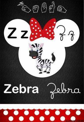 Alfabeto Mickey e Minnie Disney para imprimir - 4 letras e libras - Aluno On