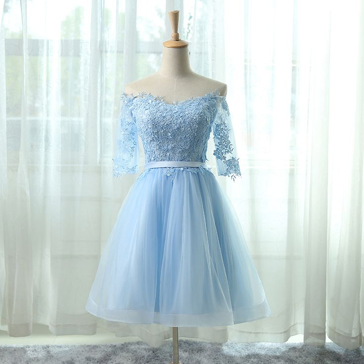 featuring the off shoulder neckline with lace applique bodice , 3/4 sleeve and A line tulle skirt .$139