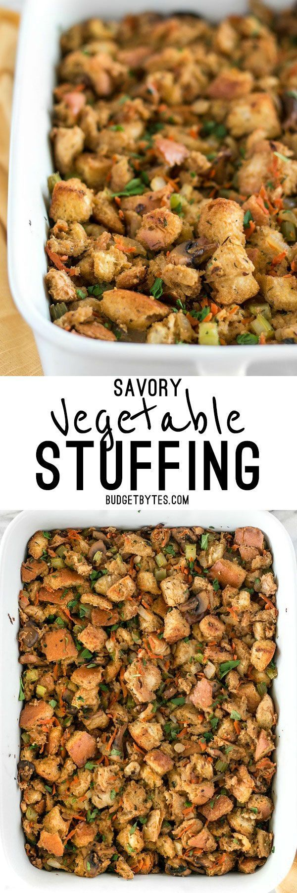 This Savory Vegetable Stuffing is full of so much color, texture, and flavor that it will be loved by meat-eaters and vegetarians alike. @budgetbytes