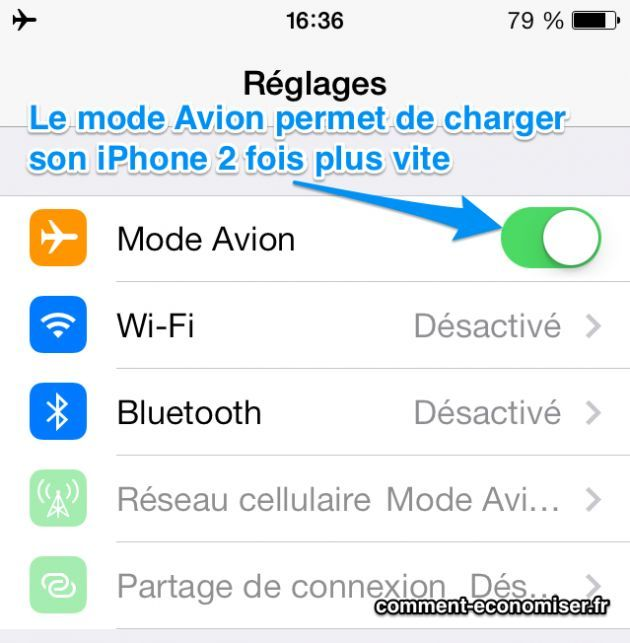 Avec le mode Avion, l'iPhone se charge 2 fois plus vite