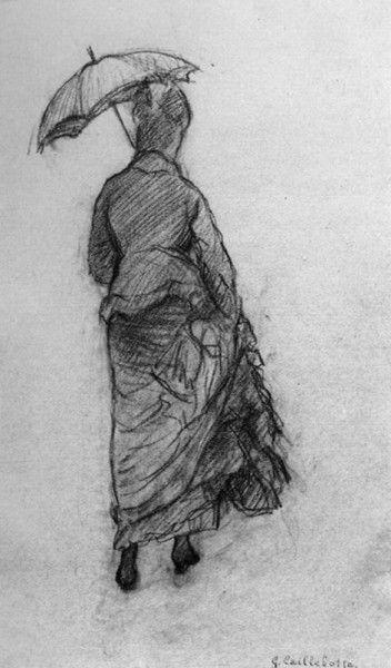 Gustave Caillebotte, Femme à l'ombrelle, vue de dos, petite ombrelle (Études pour Rue de Paris, temps de pluie), 1877, Mine de plomb et fusa...