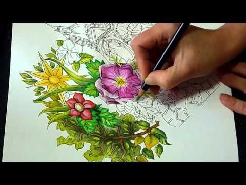 Speed Colouring. The Magical City with Derwent Inktense pencils. Hyde Park. - YouTube