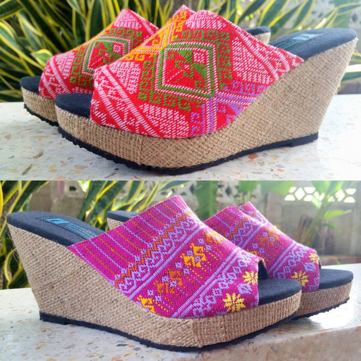 Women's slip on shoes in ethnic handwoven textiles . A vegan shoe in a mule style with a wedge heel. Choose Teen Jok or Hmong textiles.