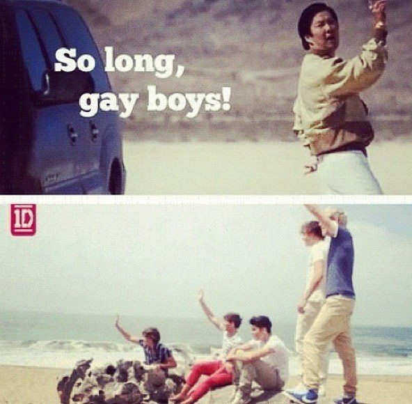 Mr. Chow (from Hangover movie) saying goodbye to One Direction.