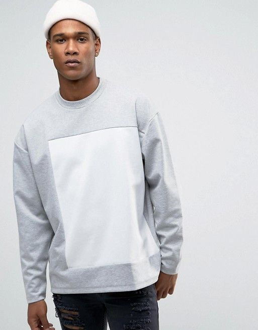 ASOS | ASOS Oversized Bonded Sweatshirt With Cut & Sew