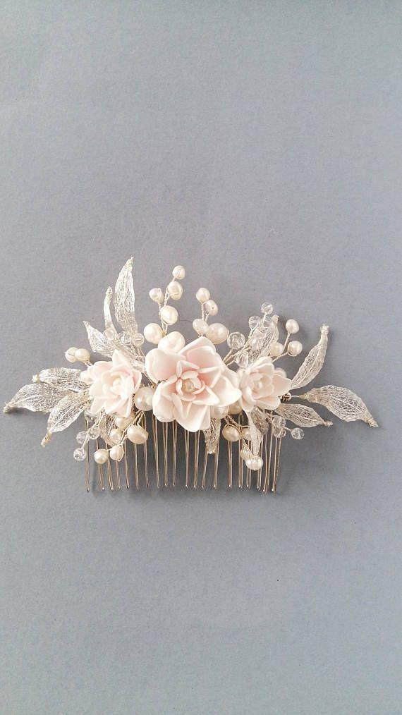 Pedazo de Novia de flores de Blush peine de pelo nupcial de