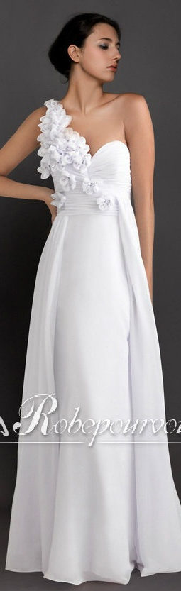 blanche robe de soiree longue d 39 une epaule unique long white dress robe de soir e. Black Bedroom Furniture Sets. Home Design Ideas