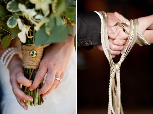 Traditional Irish Wedding Gifts: The Binding Of Hands With Ribbon To Symbolize Together As