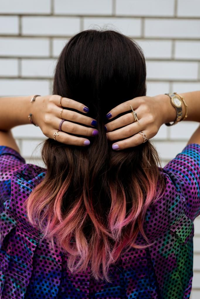 ombre nails dip dye hair