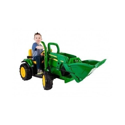 John Deere Ride On Toy Battery Powered Tractor Front Loader Quad Power Wheels #PegPerego