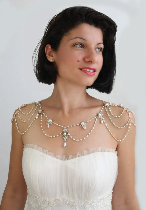 Necklace For The SHOULDERS, 1920s Inspiration, Beaded Pearls And Rhinestone,Jazz Age,Silver Sterling, OOAK Bridal Wedding Jewelry,Victorian. $1,500.00, via Etsy.