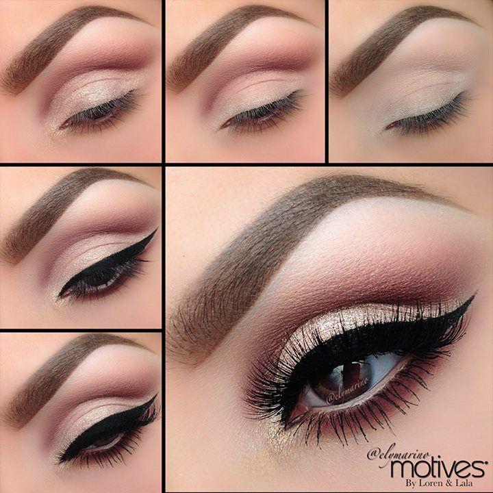 Brązowe oczy podkreślone cieniem w kolorze złotym i śliwkowym