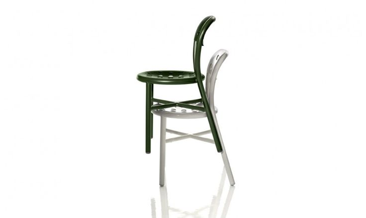 Stacking chair.  Also available with arms. Material: frame in polished aluminium tube or painted in polyester powder. Seat and back in punched aluminium plate polished or painted in polyester powder. Versions for outdoor use available.