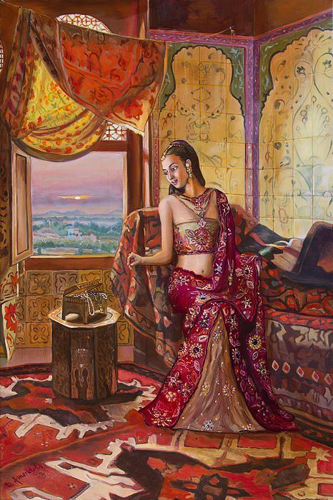 Le Rendez Vous De La Rani, oil painting, india, figurative realism, by Dominique Amendola