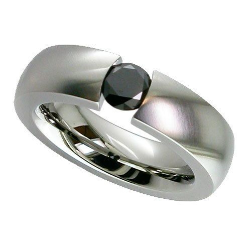 Shallow Dome Titanium ring with black diamond by GETi - My Personal Jewellery - The Design Station Ltd