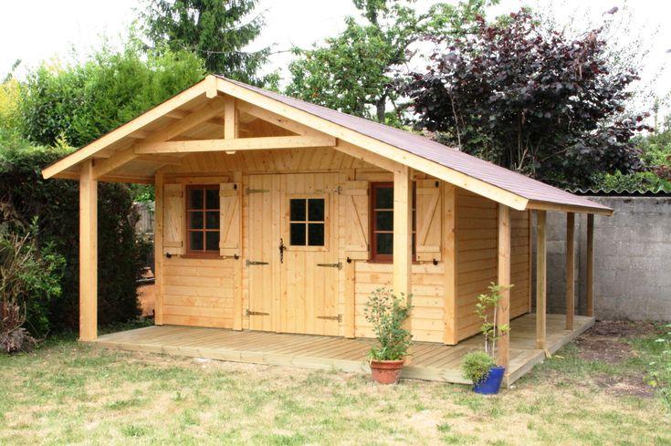 Abri de jardin en bois MILLY 4.00Mx4.00M avec bûcher et ...