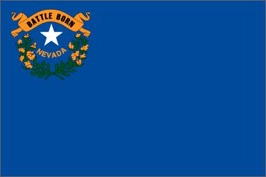 """Nevada's State Flag (Entered the Union on October 31, 1864, 36th state) ~ Origin of Name: Spanish for """"snow-covered"""" ~ State Motto: All for Our Country ~ State Song: """"Home Means Nevada"""" ~ National Forest: 2; State Parks: 24 ~ Famous for: Gambling Casinos,  Wild Mustangs, Major Resorts: Lake Tahoe, Reno, Las Vegas and Gold and Silver Mining"""
