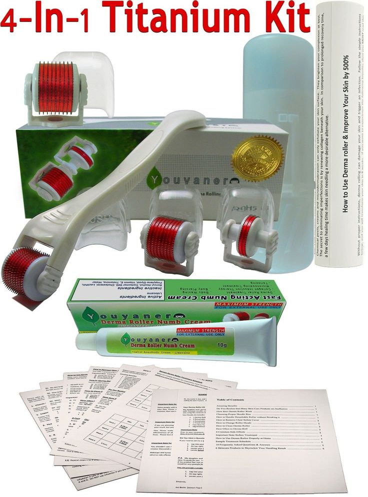 NEW Youyaner 4 in 1 Complete Derma Roller Kit 4 Microneedle Dermaroller Heads (Size 0.5mm, 0.75mm, 1.0mm) + Numb Cream + 7 Page How-to Guide + Travel ... #skin #beauty #care #acne #treatments #blemish #health #guide #derma #microneedle #roller #numb #cream #youyaner