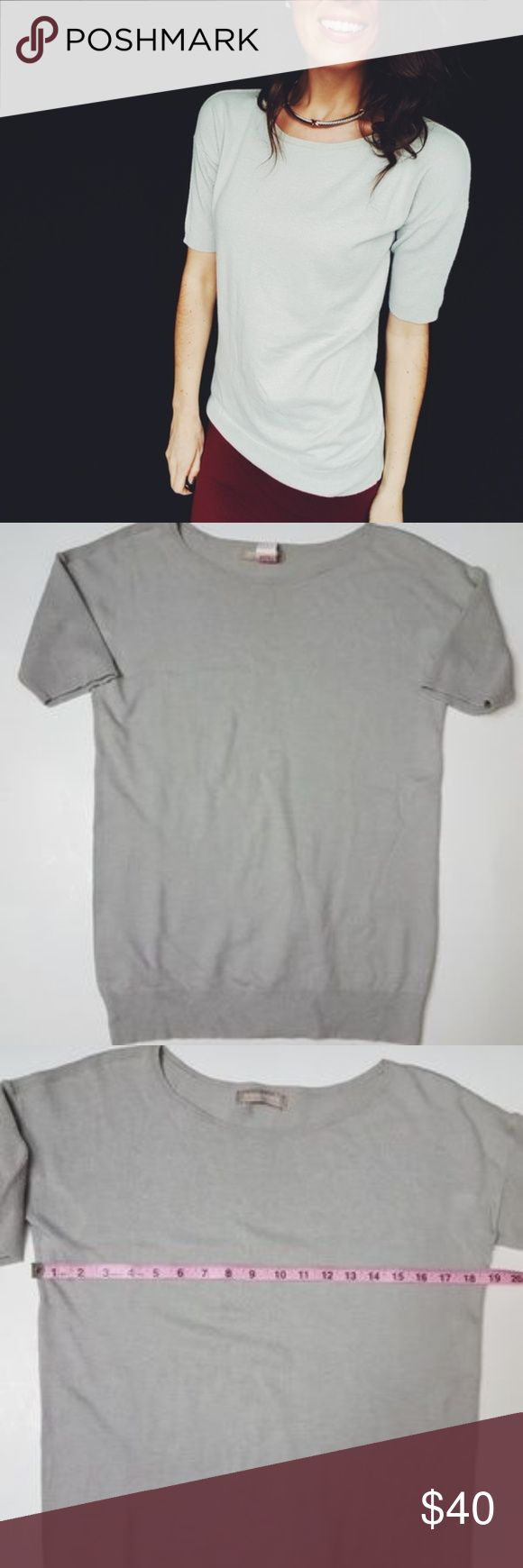 Banana Republic gray short sleeve sweater top -C4 In good condition! Stunning Banana Republic sweater top, size medium. Soft, cozy material. Perfect for days you want to be cozy and look cute! Materials tag from the same sweater I have in blue. The materials tag on the gray sweater has been removed. Used item: inspected for quality and wear. Pictures show any signs of wear and use. Bundle up! Offers always welcome:) Banana Republic Tops