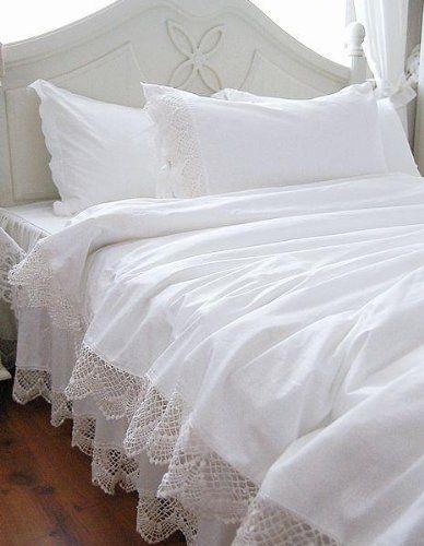 White Elegant Lace Duvet Cover Bedding Set
