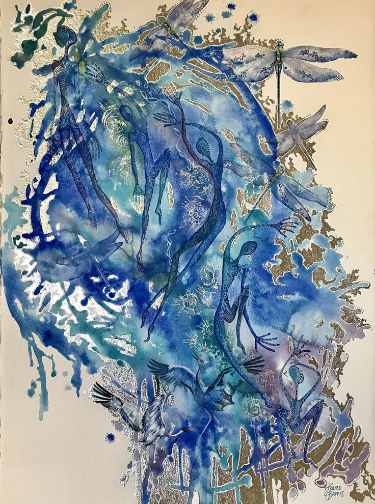 'Continuum' Watercolour and silver leaf on paper by Jeanne Barnes. Sold