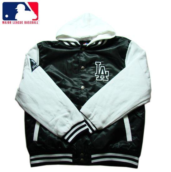 【LA DODGERS】【ロサンゼルス・ドジャース】フード付きベースボールジャケット ブラックXホワイト サイズM-2XL 【アウター】【LA】【jacket】【black】【B系】【スタジャン】【MLB】【ヒップホップ】【黒】【メジャーリーグ】【ナイロン】【送料無料】【あす楽】【楽天市場】
