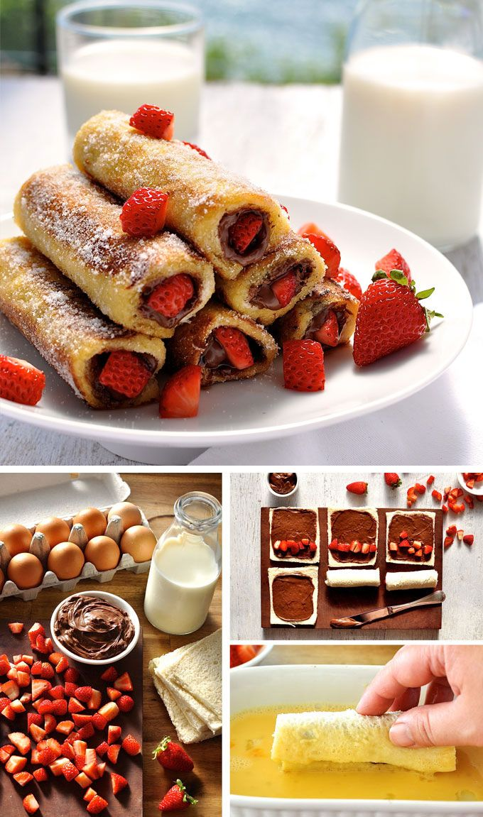 Strawberry Nutella French Toast Roll Up - a breakfast treat that tastes like an awesome doughnut! So easy and fast to make.