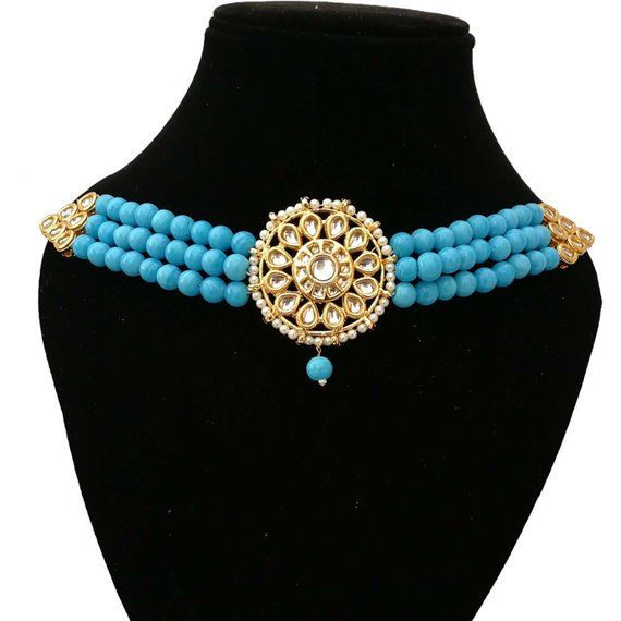 Finekraft  Bollywood Bridal Wedding Designer Pearls Touch Charming Kundan Choker Necklace Jewelry With Designer Earrings Set