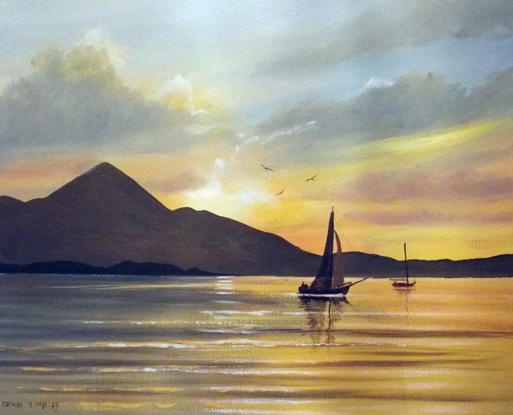 croagh patrick sunset - Painting,  2x16x20 in ©2014 by Cathal O Malley -              croagh patrick, painting, irish, ireland, acrylic