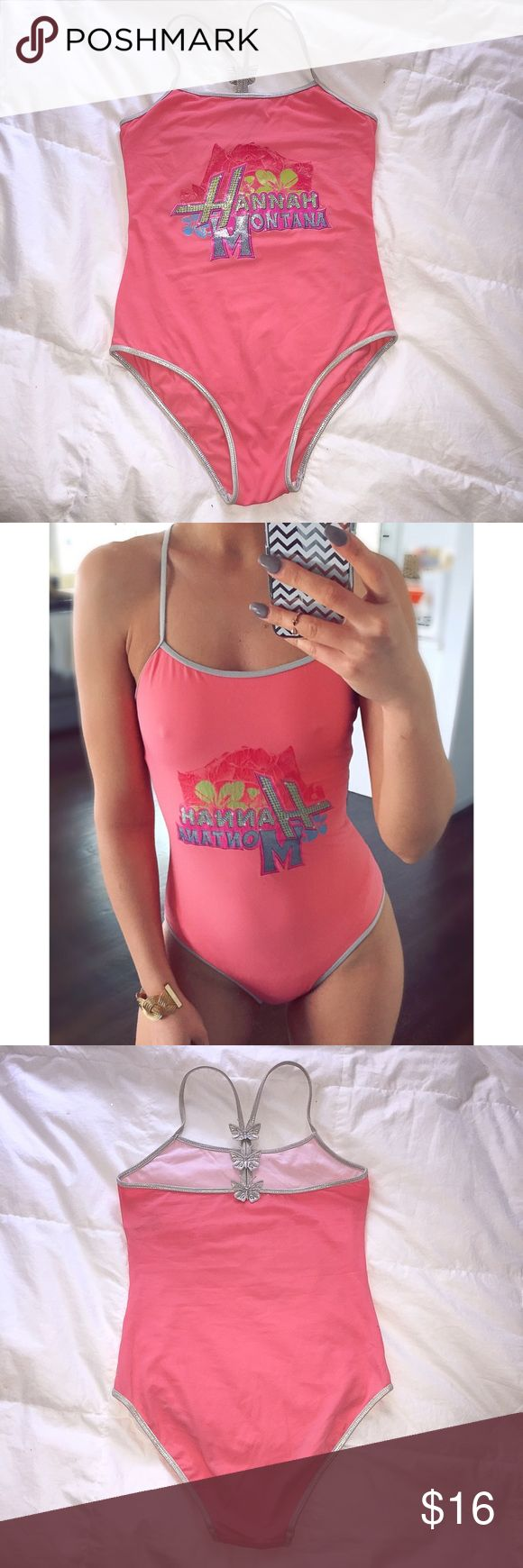 """'Hannah Montana' One Piece Peach Swimsuit!  👙 In good condition. Says for 164 cm = approx 5.3"""" and true to it. I am 5'7"""" and it's a little too tight on me. Best color shows picture #2. It's more of a peachy tone than pink. Disney Swim One Pieces"""