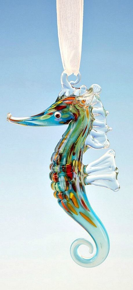 Hanging Glass Seahorse Ornament Colorful Beach Themed Coastal Home