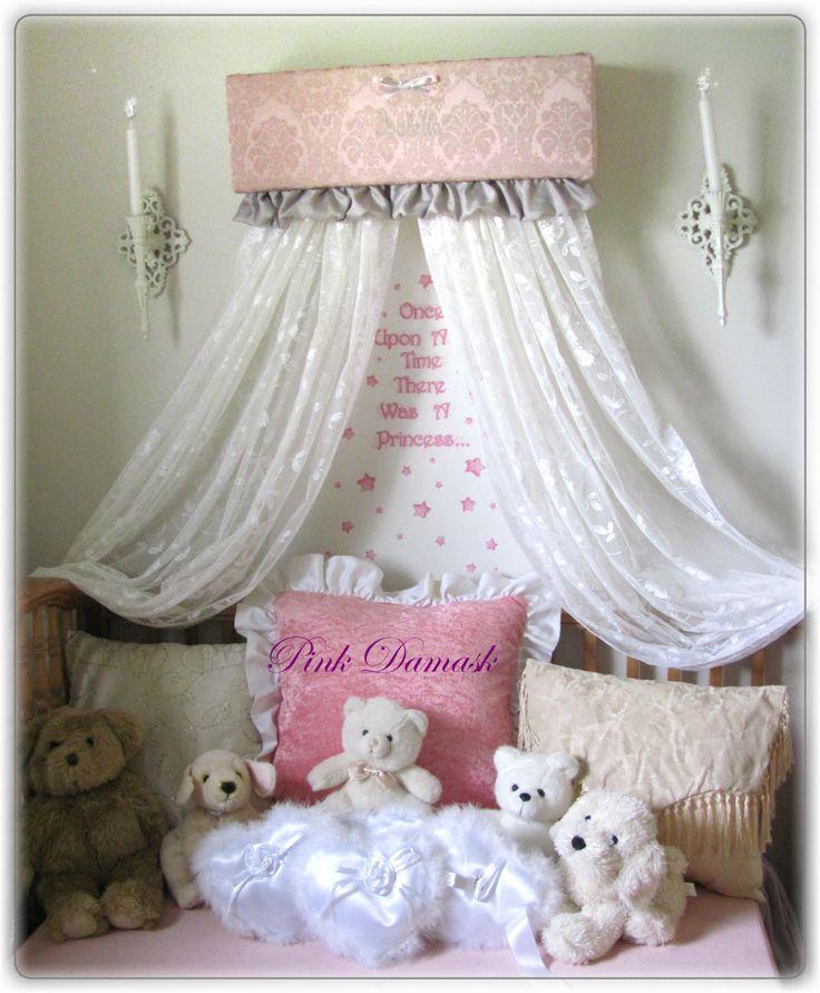 Crib bed ruffles pink gray damask nursery canopy cornice for Nursery crown canopy
