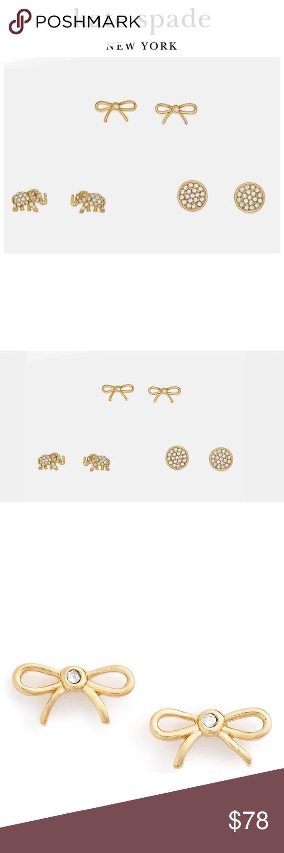 Kate Spade Three's Company Studs NWT. Set of 3. Gold. kate spade Jewelry Earrings
