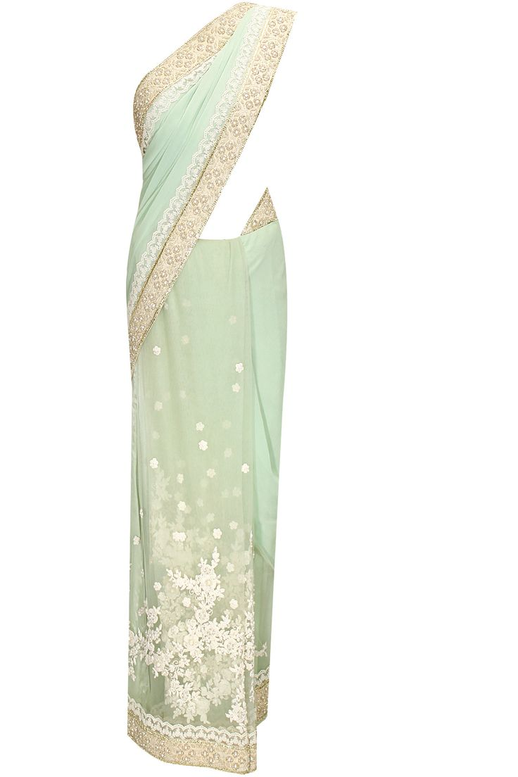 Sea green thread and beads floral embroidered sari with green blouse piece available only at Pernia's Pop-Up Shop.