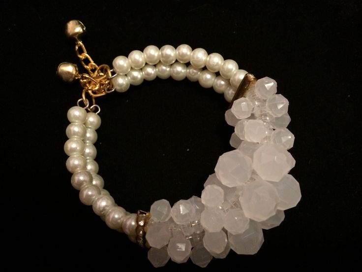 White Pearl and crystal chunk bracelet