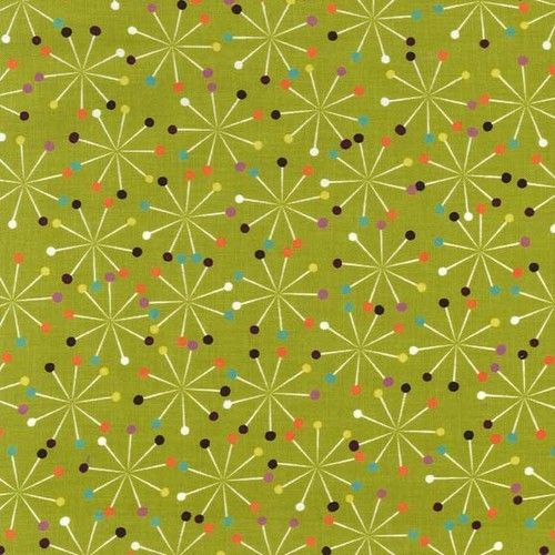 """""""Pins Star Green"""" -  Sewing Fabric Fat Quarter by Michael Miller"""