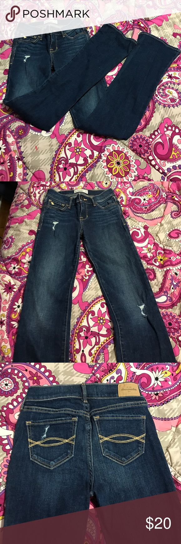 Abercrombie Kids Bootleg Jeans EUC Abercrombie kids lightly distressed bootleg jeans. Darker wash. Size 14 slim. abercrombie kids Bottoms Jeans