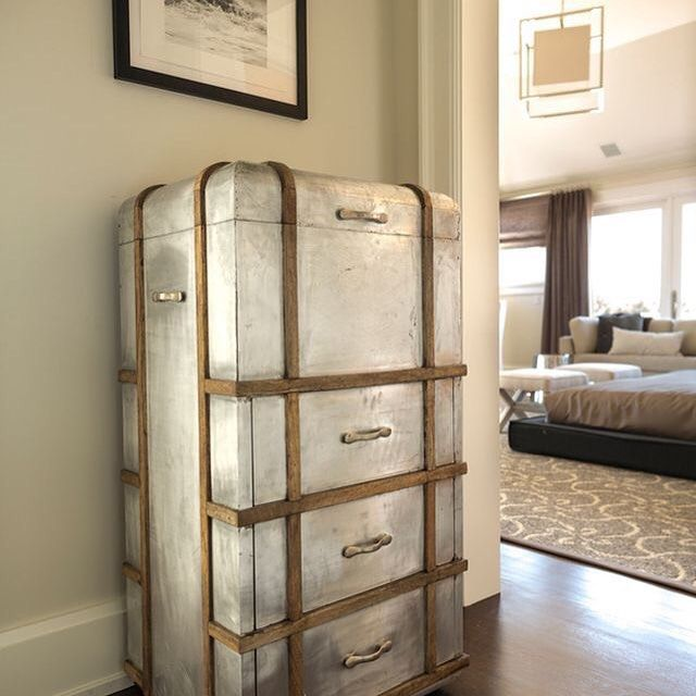 Go Home's Steamer Chest Vintage inspired Steamer Chest is the definition of urban chic with its reclaimed wood, rusted iron and time worn accents. www.GoHomeLtd.com #gohomeltd #goldenoldies #vintage books #interiordesign #decorate #storage #urban